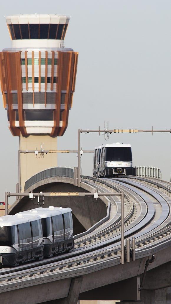 Sky Trains make runs at Sky Harbor International Airport.