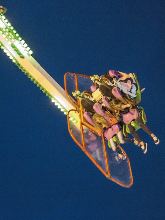 "Courtesy Photo   Also new to New Mexico State Fairgoers is the ""Speed"" ride. The Speed can accommodate 8 patrons and take them spinning at 13 RPMs up to heights of 120 feet in the air all while the car is also spinning."