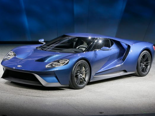 The new Ford GT concept at its unveiling at the Detroit Auto Show in ...