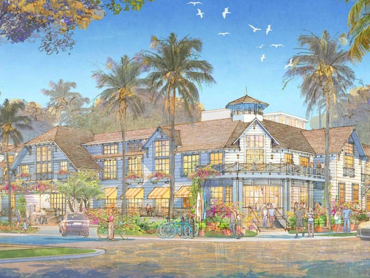 A building rendering shows a proposed two-story hotel
