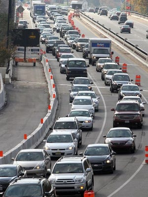 Traffic backs up on I-95 over the Brandywine bridge during a 2012 closure of the highway at Concord Pike (U.S. 202).