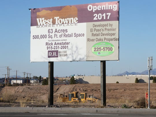 A sign announces the 500,000 square-foot West Towne Marketplace at Interstate 10 and Paseo del Norte (Artcraft) in West El Paso.
