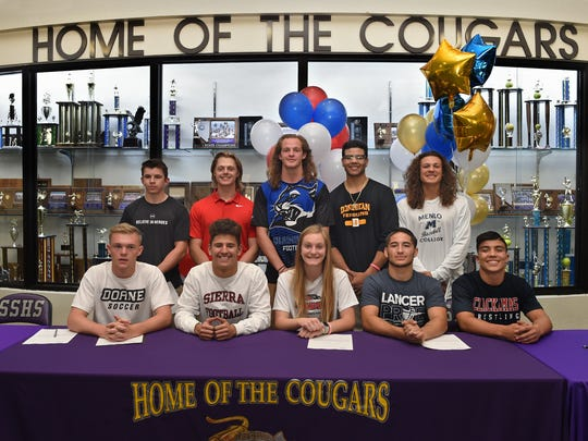 Front row left to right is Kyle Georgeson (Soccer) Doane University in Crete, Neb., Colton Allen (Football)  Sierra College in Rocklin, Brionna Wood (Soccer)  Southern Oregon University, Cole Drescher (Wrestling)  California Baptist University and Isaac Ruiz (Wrestling)  Clackamas College in Oregon City, Oregon. BACK Row left to right is Austin Cadenhead (Football) College of the Redwoods in Eureka, Cody Jones (Baseball) Southwestern Oregon College in Coos Bay, Oregon, Korbin Marcum (Football) Culver–Stockton College in Canton, Mo, Marcus Loadholt (Basketball) Dominican University of California and Marlin Brucato (Baseball) Menlo College in Atherton, Calif.