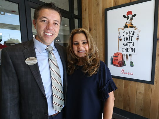 "Anthony and Joy Martinez, operators of a new Chick fil-A restaurant at 1300 Airway Blvd. at Edgemere Boulevard, host a VIP premiere event Monday. The event helped the restaurant's staff train one more time before it officially opens Thursday. Anthony Martinez said they are excited about their new location, calling it ""El Paso's Chick fil-A"" because the eatery is the lone one of its kind in the Central area of El Paso, adding another food choice for area residents as well as the many businesses located nearby. They have been associated with Chick-fil-A for three years, having operated a restaurant inside Cielo Vista Mall."