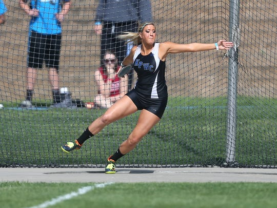 KPWC junior Kiana Phelps won the Class 2A title in the discus during the 2015 Iowa state track and field meet on Friday, May 22, 2015, at Drake Stadium in Des Moines, Iowa.