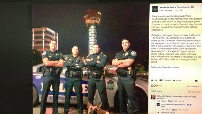 The Knoxville (Tenn.) Police Department challenged the Gainesville (Fla.) Police Department and their admirers to make a donation to any Hurricane Irma charity.