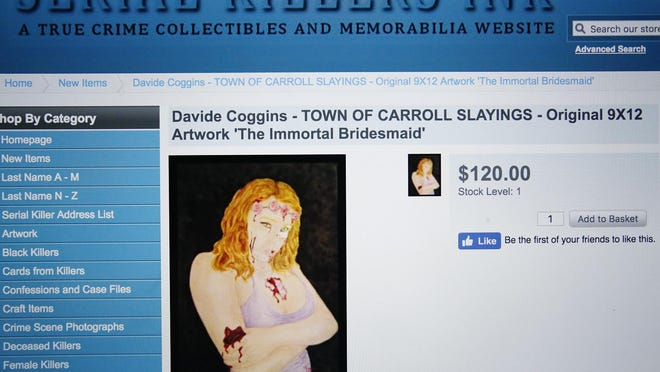 """Convicted murderer Davide Coggins' """"The Immortal Bridesmaid"""" art piece is for sale on serialkillersink.net, a website that sells """"true crime collectibles."""" Coggins is serving 50 years to life in prison for the slayings of Gordon and Joyce Skinner inside their Town of Carroll home in 2013."""