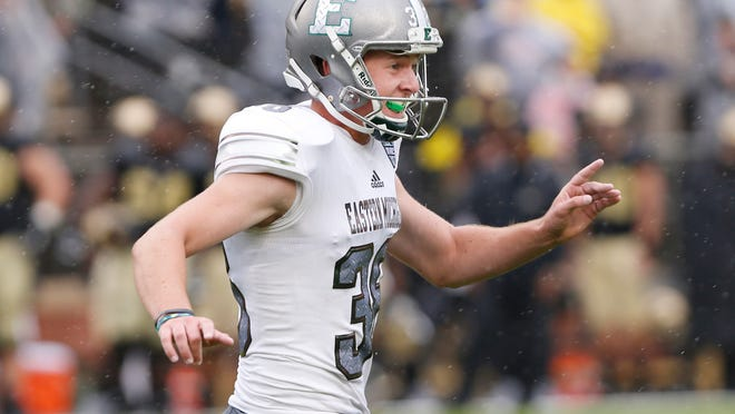 Eastern Michigan kicker Chad Ryland reacts after his field goal as time ran out lifted the Eagles to a 20-19 victory over Purdue in an NCAA college football game Saturday, Sept. 8, 2018, in West Lafayette, Ind. (John Terhune/Journal & Courier via AP)