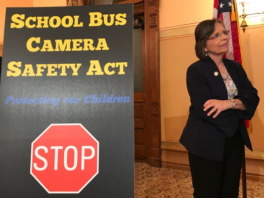 Donna Lupardo at school bus event