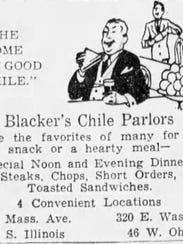 Blacker's Chile Parlor ad 1932.