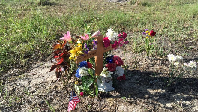 A memorial to Tricia Todd was seen Wednesday, June 1, 2016, at the Hungryland Wildlife and Environmental Area in Hobe Sound.