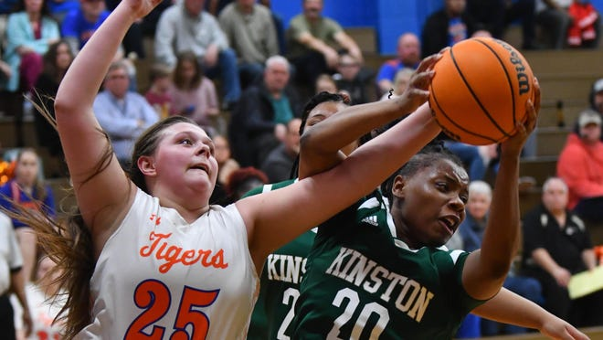 Randleman's Gracyn Hall (25) led the Tigers to a third straight conference crown on Monday. Randleman's girls have a 32-4 PAC 7 record over the last three seasons.