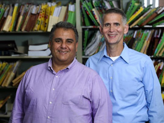 Michael DeLeon, left, and Greg Bourke, whose lawsuit led to the landmark U.S. Supreme Court ruling legalizing same-sex marriage, have started a scholarship at the University of Louisville for Catholic LGBT students.