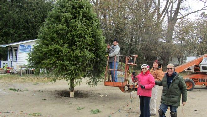 Stu Peterson, Michelle Kemp, Jack Hawkins and Gary Kemp put lights on the Ellison Bay tree.