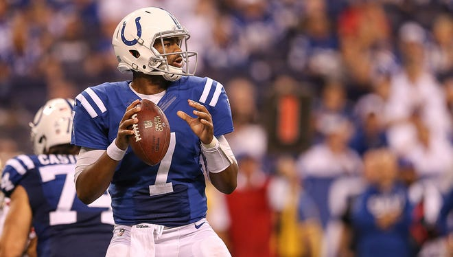Indianapolis Colts quarterback Jacoby Brissett (7) looks for an open receiver during fourth quarter action against the San Francisco 49ers at Lucas Oil Stadium, Sunday, Oct. 8, 2017.