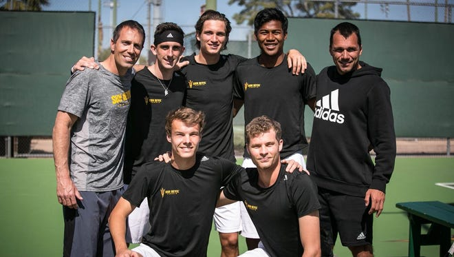 ASU men's tennis, led by coach  Matt Hill (top row, left), will return in 2017-18 with one of the nation's top-rated recruiting classes.