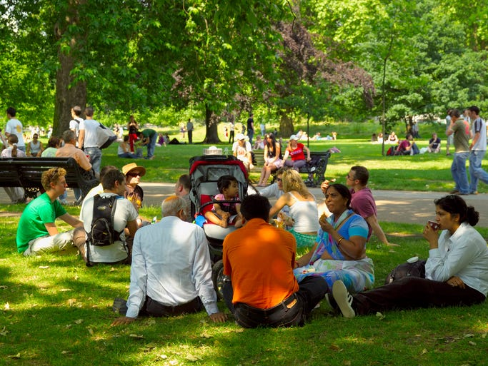 London's Hyde Park spans 350 acres with landmarks and recreation in addition to prime picnicking.