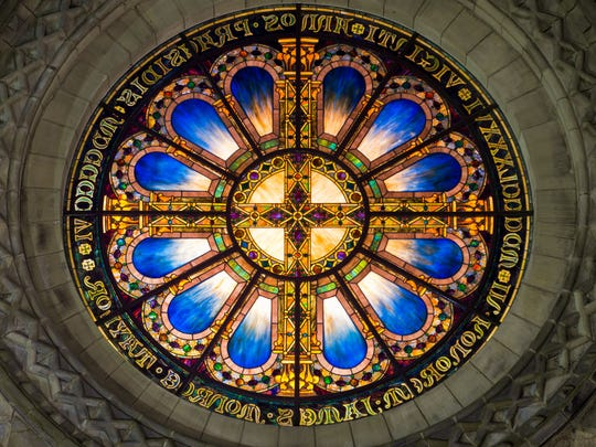 Louis Comfort Tiffany Rose Window,1906. The 12-foot-diameter window rests above the front entrance to the chapel.