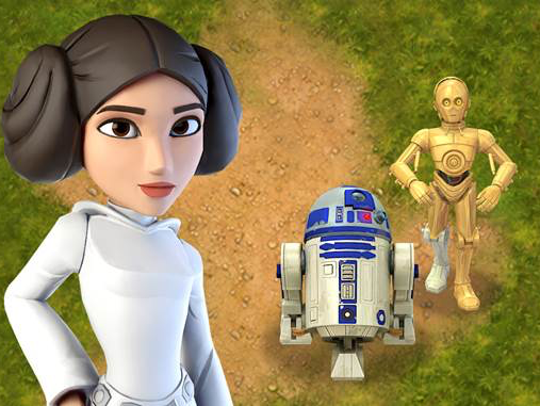 Princess Leia with R2D2 and C-3PO.