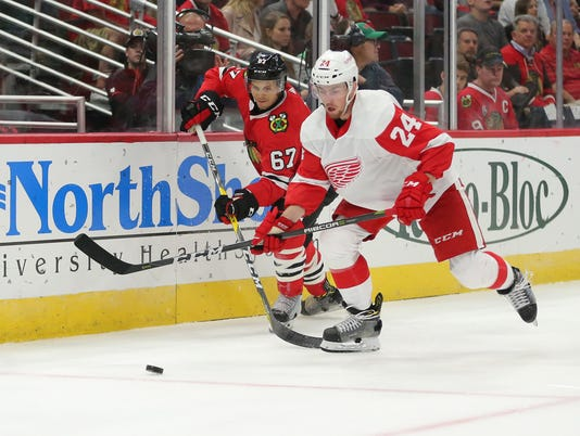 USP NHL: PRESEASON-DETROIT RED WINGS AT CHICAGO BL S HKN CHI DET USA IL