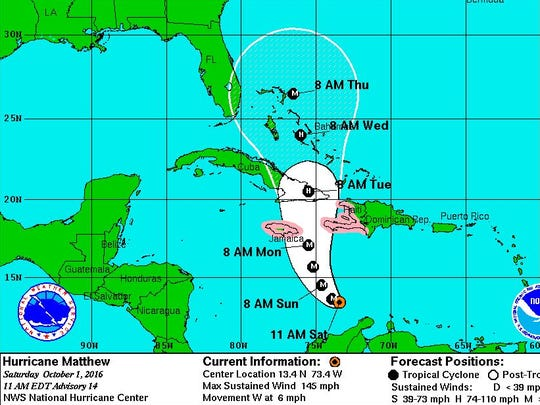 The location and forecast track of Hurricane Matthew at 11 a.m. Saturday.
