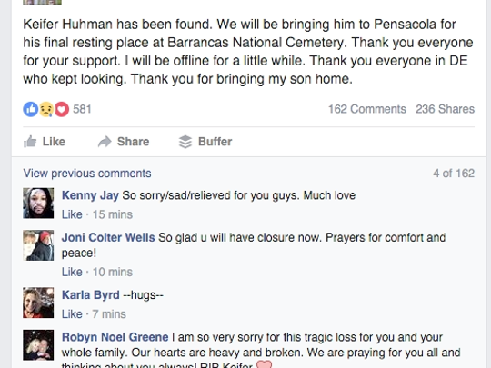Screenshot of the Facebook post announcing that Keifer Huhman's body was found.
