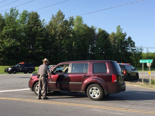 New York State Police conduct a roadblock in Beekmantown,