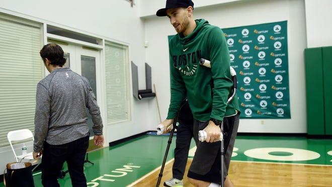 Boston Celtics injured forward Gordon Hayward leaves the podium after addressing the media at Celtics Practice Facility.
