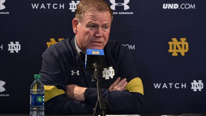 Nov 26, 2016; Los Angeles, CA, USA; Notre Dame Fighting Irish head coach Brian Kelly speaks at the post game press conference following the game against the USC Trojans at the Los Angeles Memorial Coliseum. USC won 45-27. Mandatory Credit: Matt Cashore-USA TODAY Sports