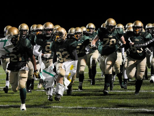 York Catholic takes the field for the District 3 Class A football semifinal at York Catholic High School on Friday. The Irish won 23-8. (Photo by Kate Penn -— GameTimePA.com)