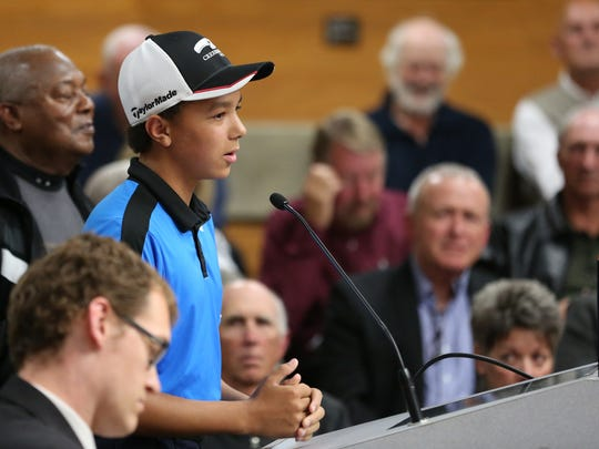 Jonathan Scott, 12, testifies in favor of Creekside Golf Club during a Salem City Council meeting on Monday, Oct. 10, 2016, in regards to a water rate proposal.