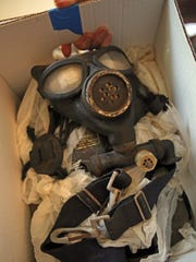 A gas mask was donated to Win Perry of the Historical