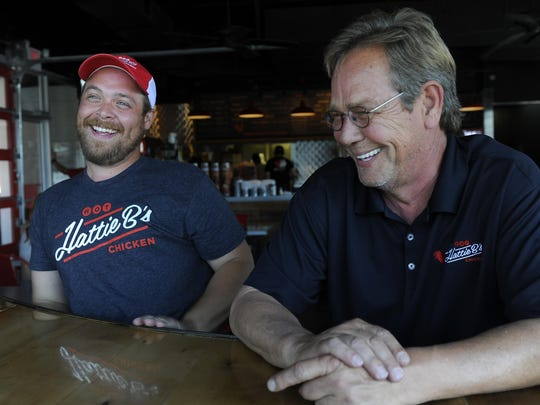 Nick Bishop Sr. and Nick Bishop Jr. of Hattie B's Hot Chicken have two locations in Nashville, with another set for Germantown next year. They're also planning to expand to Birmingham, Ala.