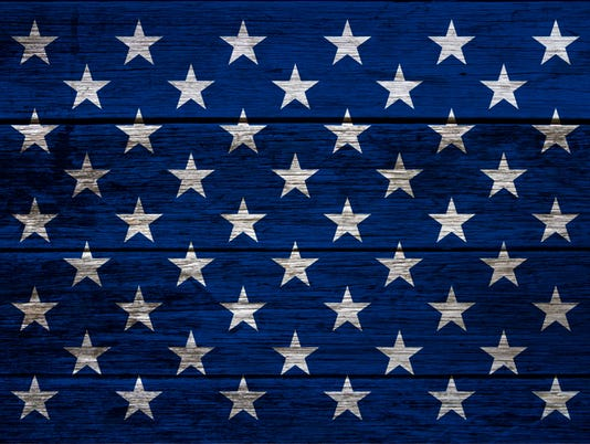 USA flag stars on wood planks background