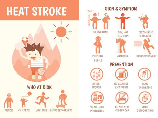 Signs of heat stroke and how to prevent it.