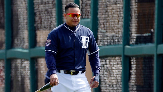 Detroit Tigers first baseman Miguel Cabrera waits his turn in the batting cage before a game against the Baltimore Orioles in Lakeland, Fla., on Tuesday, March 3, 2015.