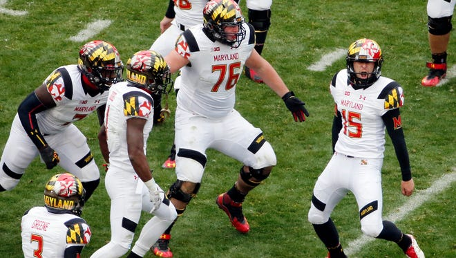 Maryland place kicker Brad Craddock (15) celebrates with teammates after kicking a 43-yard, game-winning field goal with 51 seconds left against Penn State on Nov. 1.