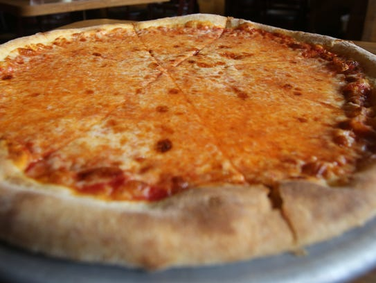 A cheese pizza at La Manda's restaurant in White Plains