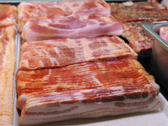 Bacon for sale at the Amish Market At Spences's Bazaar in Dover.