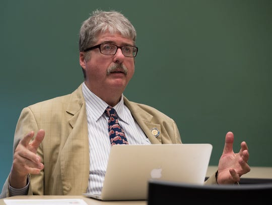 John Flaherty, director of the Delaware Coalition for Open Government, speaks during a meeting of the organization at Woodlawn Library in Wilmington on March 10. The Delaware Freedom of Information Act requires the state to provide public access to government documents and correspondence.
