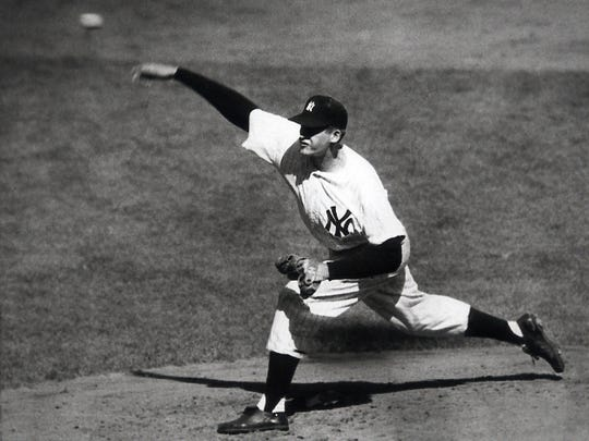Don Larsen pitches a perfect game in the 1956 World Series.