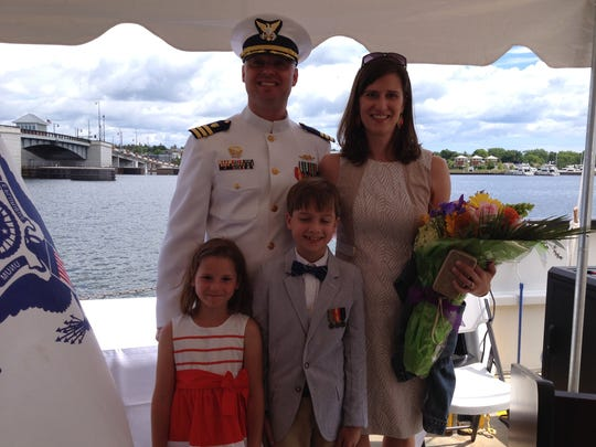 Outgoing Mobile Bay Cmdr. John Stone said his wife, Lori, and their children, Olivia and Gavin, are sad to leave Sturgeon Bay, but will vacation for a month in Door County before moving. Stone's new assignment is at Coast Guard headquarters in Washington, D.C.