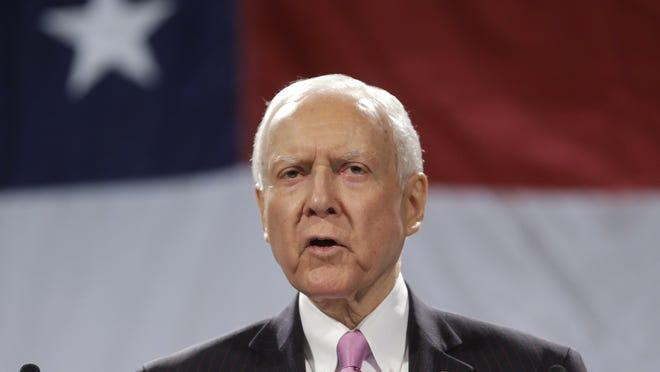 FILE - In this April 26, 2014, file photo, Sen. Orrin Hatch, R-Utah, addresses a crowd during the Utah Republican Party nominating convention, in Sandy, Utah. Hatch says it's obvious that gay marriage will become legal across the country sooner or later. (AP Photo/Rick Bowmer, File) ORG XMIT: UTRB103