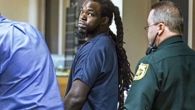 Antwon Drevon Bryant appears in court charged with murder, Friday, Feb. 7, 2020, accused of the shooting death of a person who allegedly stabbed him Tuesday.