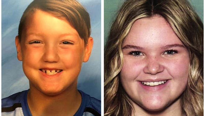 """FILE - This combination of undated file photos released by the National Center for Missing & Exploited Children show missing children Joshua Vallow, left, and Tylee Ryan. Investigators returned Tuesday, June 9, 2020 to search the Idaho home of a man with ties to the mysterious disappearance of the two children who haven't been seen since last year. It's the second search of Chad Daybell's home in a case that has vexed investigators for months and attracted worldwide attention. Seven-year-old Joshua """"JJ"""" Vallow and Ryan, 17, haven't been seen since September, and police say both Chad and Lori Daybell lied to investigators about the childrens' whereabouts."""