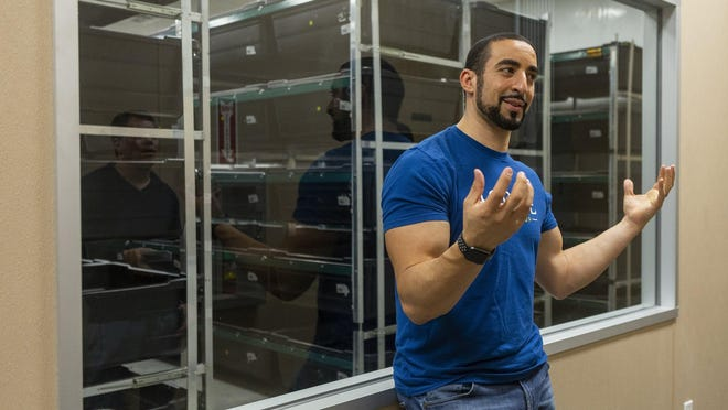 Aspire Food Group CEO Mohammed Ashour, shown here at the company's prototype indoor cricket farm in Austin, discussed H-E-B's decision to stock some of his products last year. Aspire recently announced it will build a full-sized farm in Ontario, Canada.