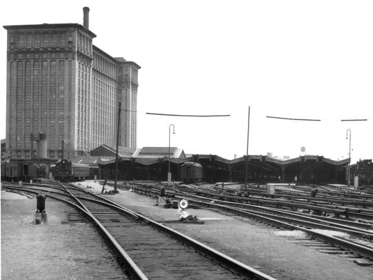 Empty train sheds at Michigan Central Railroad in 1950.