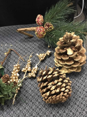 Pine cones were among the many choices those in the holiday craft class at Crimson Charities, West Allis, could choose from as they created their own wreaths and boughs.