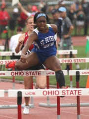 St. Peter's senior Alysse Wade set a state meet record Friday in the preliminaries of the Division III 100 hurdles with a time of 14.31.
