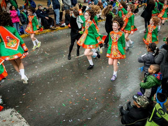 Students from the McGinley School of Irish Dance perform along Market Street during the 32nd annual York Saint Patrick's Day Parade last year.